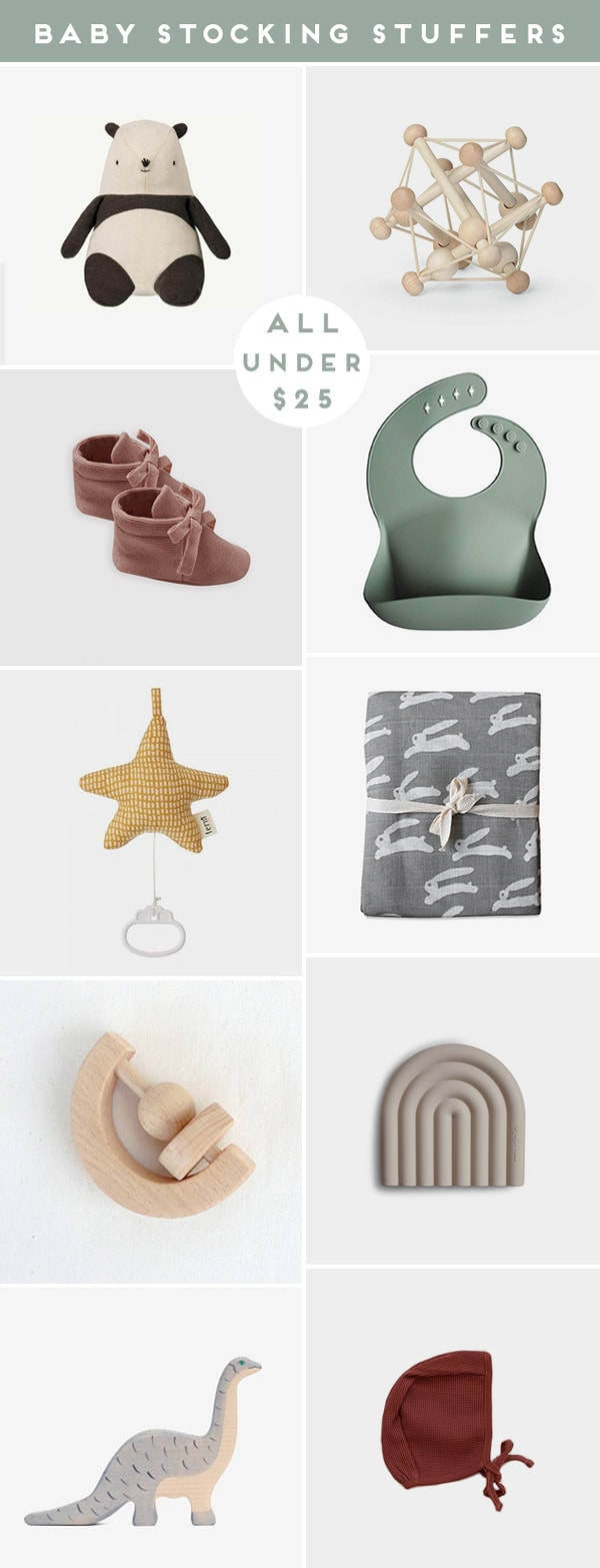 Roundup of baby product images that are cool stocking stuffers for the holidays.
