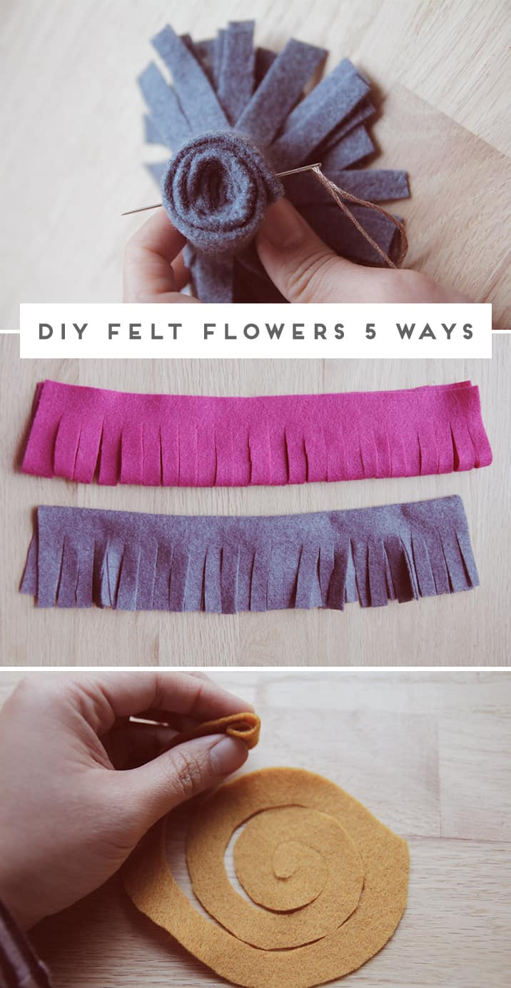 Different techniques for felt flowers in the making.