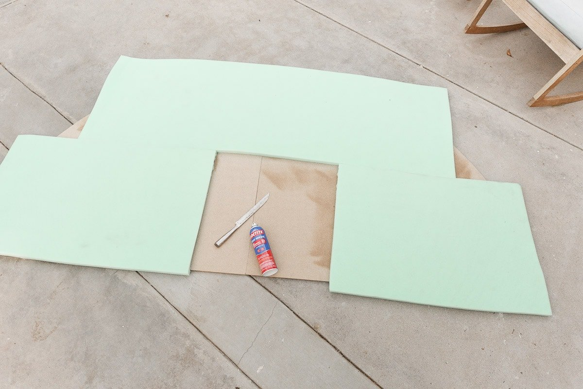 Attaching upholstery foam to MDF panels to make a statement headboard.