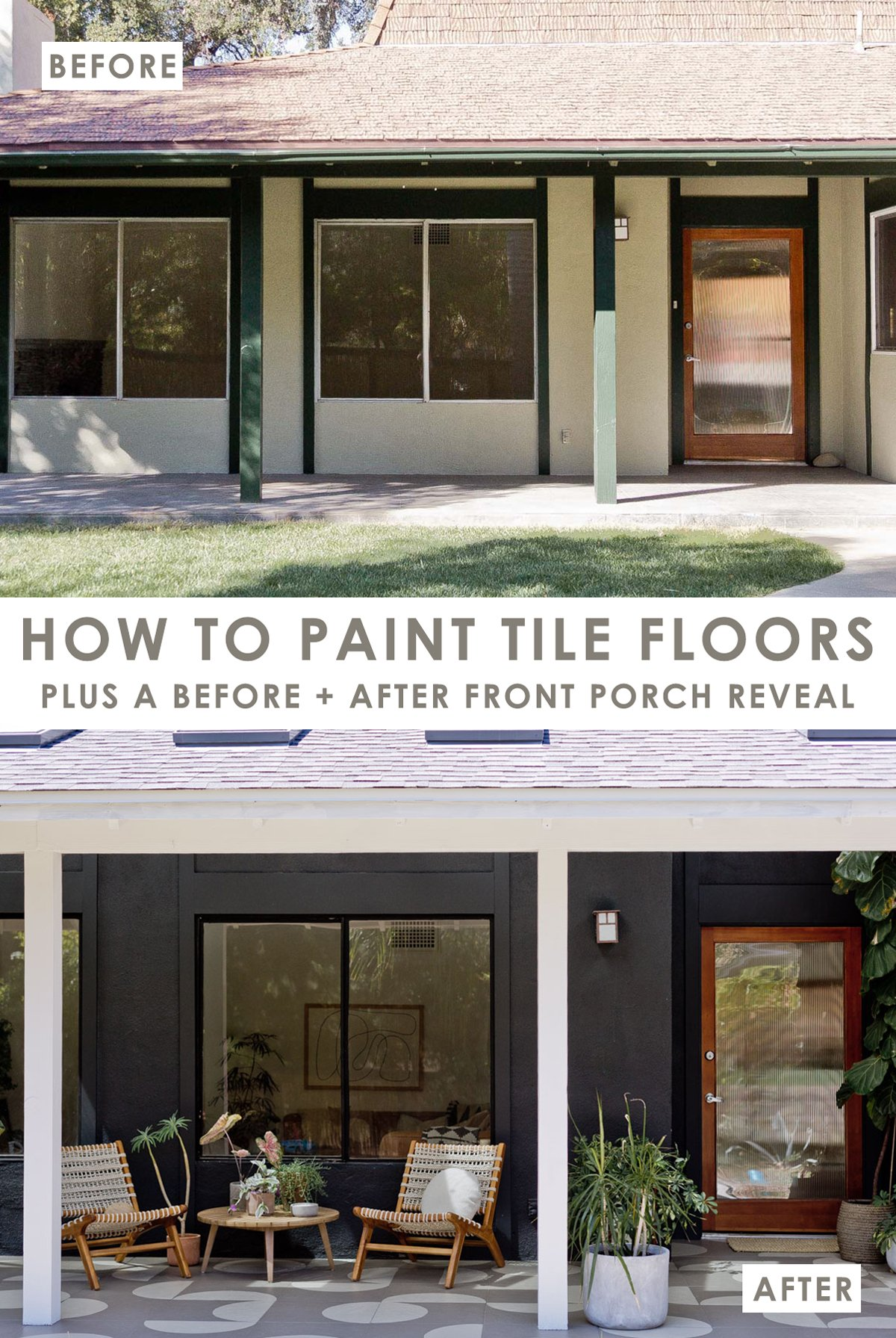 Before and after photos of front porch makeover with painted tile floors